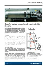 Grundfos sanitary pumps handle media with high viscosity
