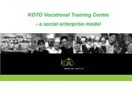 KOTO Vocational Training Centre - Travelers' Philanthropy