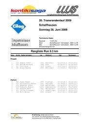 Rangliste Run - LWS Langlaufwandergruppe Schaffhausen