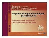 Le projet clinique montérégien, perspective RI - SoQibs