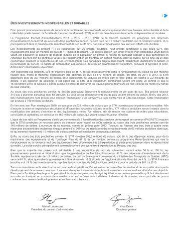 Programme triennal d'immobilisations 2011-2012-2013 de la ...