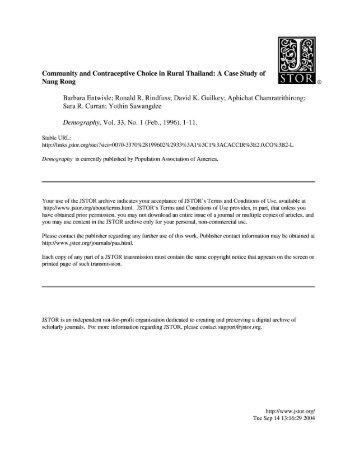 A Case Study of Nang Rong Barbara Entwisle; Ronald R. Rindfuss