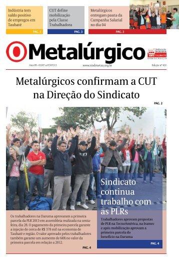 Metalúrgicos confirmam a CUT na Direção do Sindicato - CNM/CUT