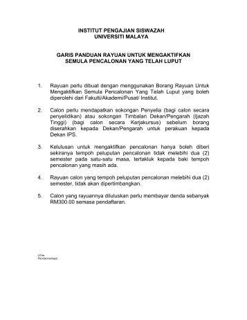 INSTITUT PENGAJIAN SISWAZAH UNIVERSITI MALAYA GARIS ...