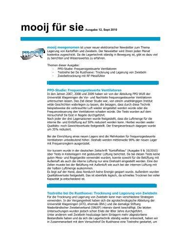 PPO-Studie, Testreihe bei De Rusthoeve und Zwiebeltrocknung mit ...