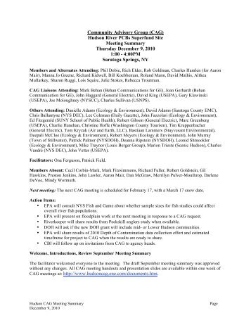 Final Meeting Summary - Hudson River - Community Advisory Group