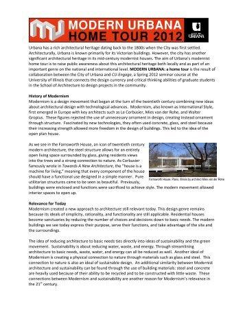MODERN URBANA Home Tour Statement - City of Urbana