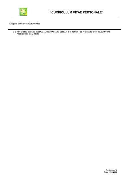 consenso al trttamento dei dati personali - Codess Sociale