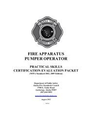 Pump Operator Skill Sheets - Alaska Department of Public Safety