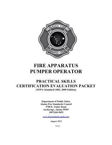 Pump Operator Skill Sheets - Alaska Department of Public Safety