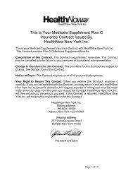 HN Plan C Contract - HealthNow New York