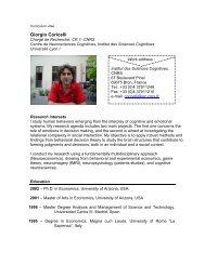 Giorgio Coricelli - Institut des Sciences cognitives - CNRS