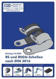 Schellen nach DIN 3016 RS und RSGU-Schellen nach DIN 3016