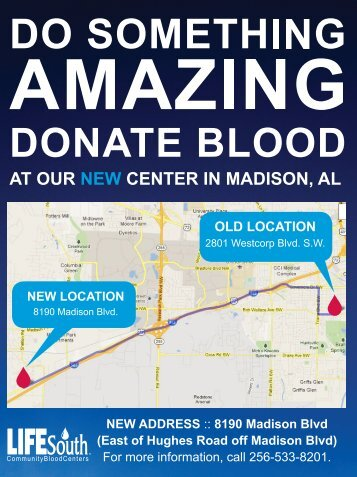 Do something amazing, donate blood at our new center in Madison ...