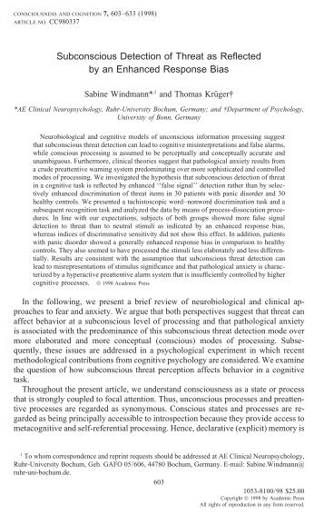Subconscious Detection of Threat as Reflected by an Enhanced ...