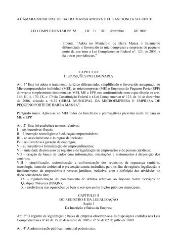 Lei Complementar nº 58, de 21 de dezembro de 2009 - Prefeitura ...