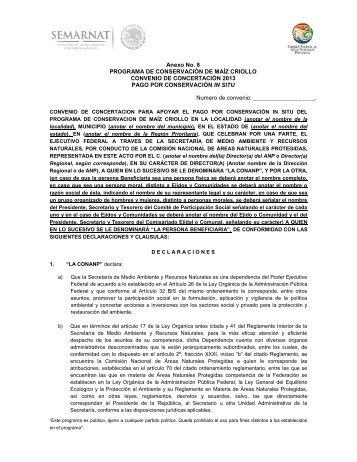Anexo 8 Convenio pago por Conservación in situ ... - Conanp