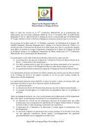 Rapport de la Table Ronde Rgionale IV :
