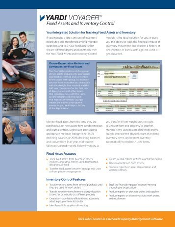 VOYAGERTM Fixed Assets and Inventory Control - Yardi