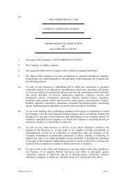 ITM Power Memorandum of Association