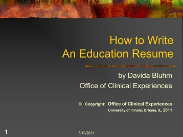 How to Write An Education Resume - College of Education