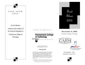 food show 2005 flyer.pub - Pennsylvania College of Technology
