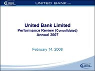 Annual 07 Results - United Bank Limited