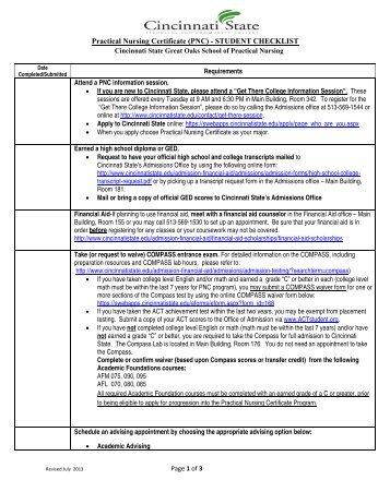 Practical Nursing Certificate Checklist - Cincinnati State