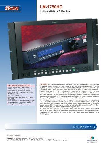 LCD Monitors LM-1750HD - VIDELCO