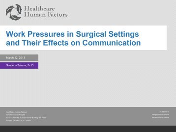 Work Pressures in Surgical Settings and Their Effects on ...