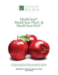 MediClear®, MediClear Plus®, & MediClear-SGS - Thorne Research