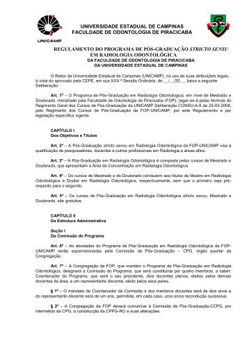 Regulamento do Programa - Faculdade de Odontologia de ...