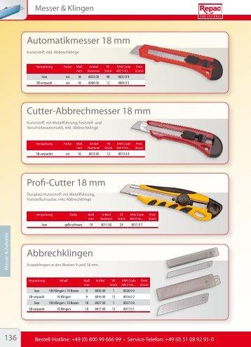 Abbrechklingen Automatikmesser 18 mm Cutter ... - Repac