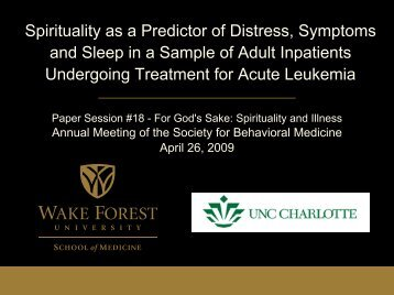 Spirituality as a Predictor of Distress, Symptoms and Sleep in a ...