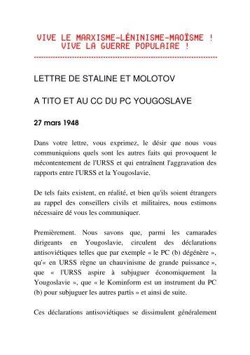 Lettre (2) de Staline et Molotov au Comité Central du Parti ... - Marxiste
