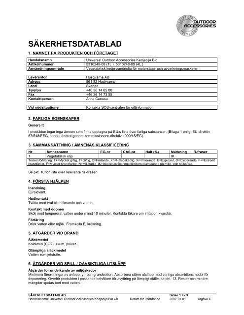 Säkerhetsdatablad (MSDS) (45.6 KB - pdf) - Jula