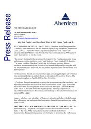 Aberdeen Equity Long-Short Fund Wins At 2009 Lipper Fund ...