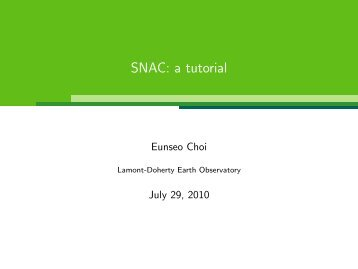 SNAC: a tutorial - Lamont-Doherty Earth Observatory