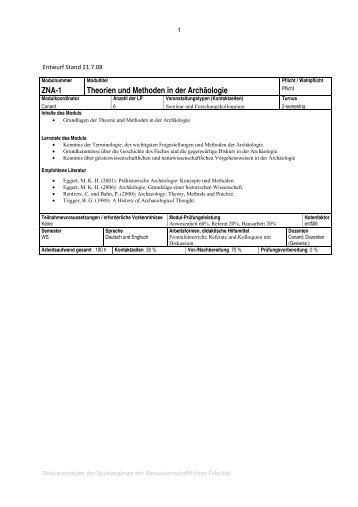 ZNA-1 Theorien und Methoden in der Archäologie
