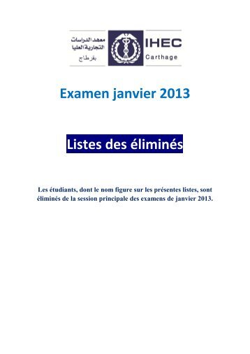 Examen janvier 2013 Listes des éliminés - IHEC