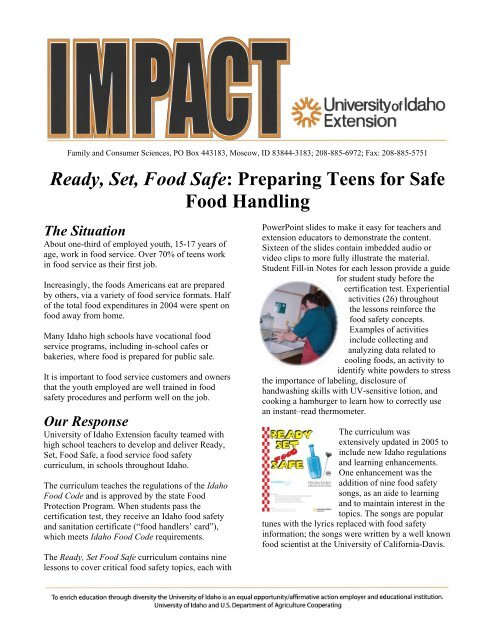Ready, Set, Food Safe - University of Idaho Extension (Ver