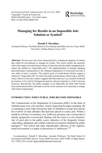 Managing for Results in an Impossible Job: Solution or ... - ppmrn