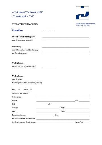 VERFASSERERKLÄRUNG - Architekten- und Ingenieur-Verein zu ...