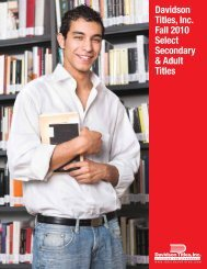 PDF - Davidson Titles, Inc. Fall 2010 Select Secondary & Adult Titles