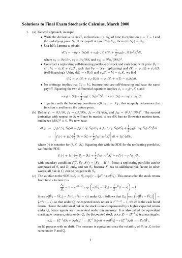 stochastic calculus solution manual Stochastic processes fourth edition  solutions manual to accompany   hence  the probability p that a particular point is in the integral (0,z) equals zf  100.
