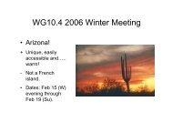WG10.4 2006 Winter Meeting