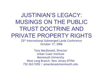 JUSTINIAN'S LEGACY: MUSINGS ON THE PUBLIC TRUST ...