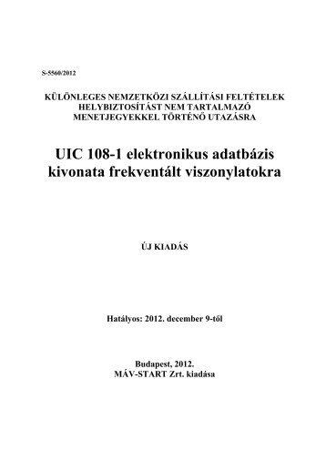 UIC 108-1 elektronikus adatbázis kivonata frekventált ... - Elvira