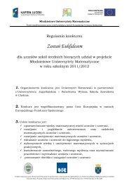 Regulamin konkursu euklides - MUM - Uniwersytet Rzeszowski
