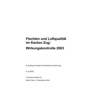 Flechten und Luftqualität im Kanton Zug ... - Luft-in.ch